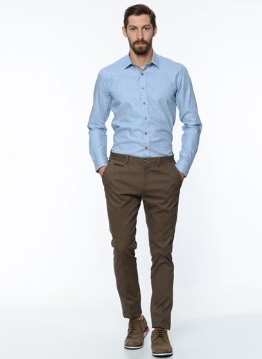 George Hogg Puantiyeli Slim Fit Gömlek Mavi